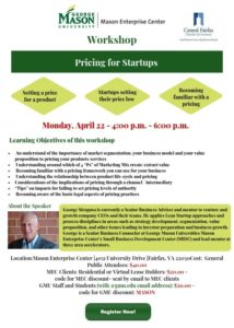 Workshop – Pricing for Startups At the Mason Enterprise Center