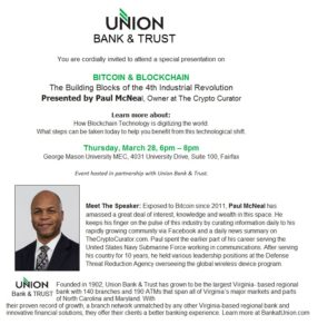 Workshop – Free Networking Event with Union Bank & Trust (BITCOIN & BLOCKCHAIN)
